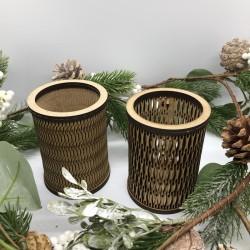 Pot à crayon rond en bois