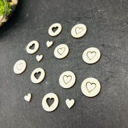 Lot 10 cœurs  en carton bois