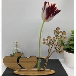 Support Vase Coeur en Bambou
