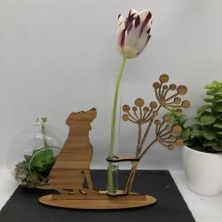 Support Vase Chien en Bambou