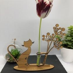 Support Vase Chat en Bambou